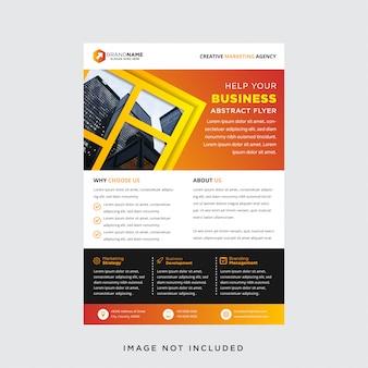 El folleto comercial moderno utiliza colores naranja, negro, amarillo y blanco.