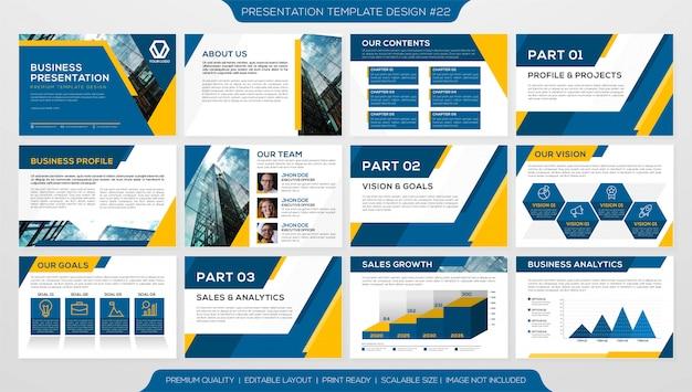 Folleto comercial o perfil corporativo con plantilla de páginas múltiples