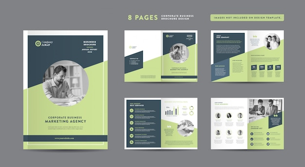 Folleto comercial de ocho páginas | informe anual y perfil de la empresa | folleto y plantilla de diseño de catálogo