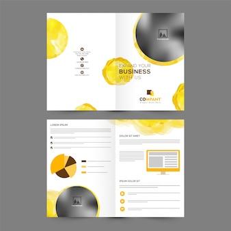 Folleto comercial profesional, diseño de la plantilla con el espacio para sus imágenes.