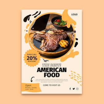 Folleto de comida americana vertical