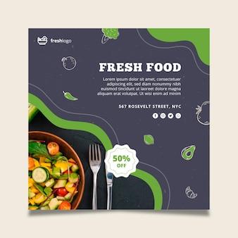 Folleto de comida bio y saludable con foto.