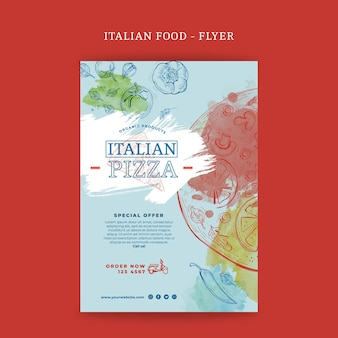 Folleto de comida italiana vertical