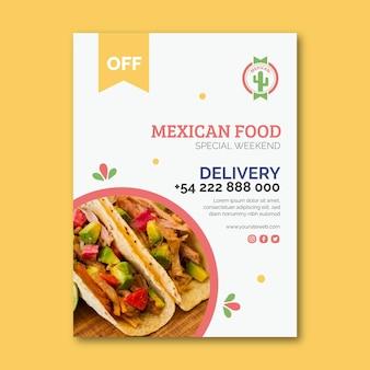 Folleto de comida mexicana vertical