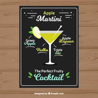 Folleto de cómo hacer un martini con manzana