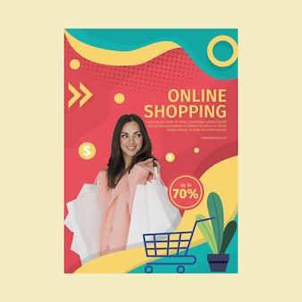 Folleto de compras en línea vertical