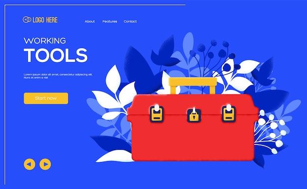Folleto de concepto de caja de herramientas, banner web, encabezado de interfaz de usuario, ingresar al sitio. .