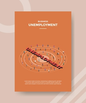 Folleto de concepto de desempleo para imprimir con ilustración de estilo isométrico