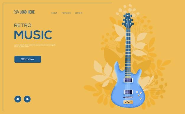 Folleto de concepto de guitarra de rock, banner web, encabezado de interfaz de usuario, ingresar al sitio.