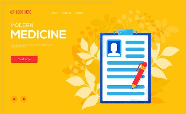 Folleto de concepto de historia clínica, banner web, encabezado de interfaz de usuario, ingresar al sitio. .
