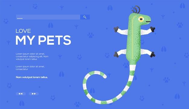 Folleto de concepto de lagarto, banner web, encabezado de interfaz de usuario, ingresar al sitio. .