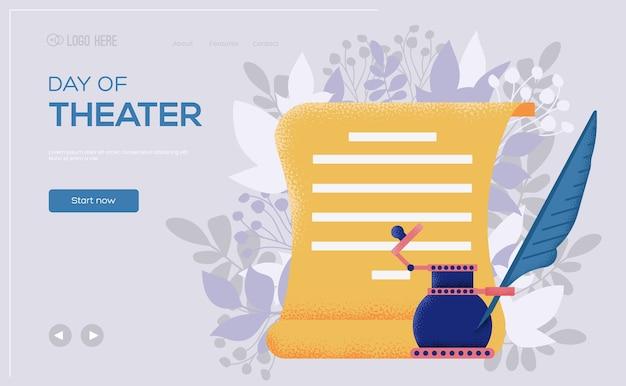 Folleto de concepto de papel de tinta, banner web, encabezado de interfaz de usuario, ingresar al sitio.