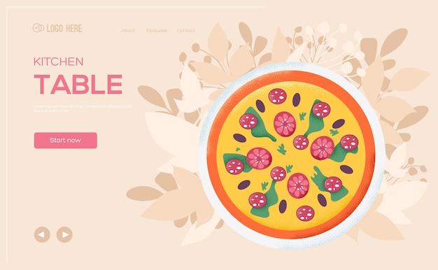 Folleto de concepto de pizza, banner web, encabezado de interfaz de usuario, ingresar al sitio.