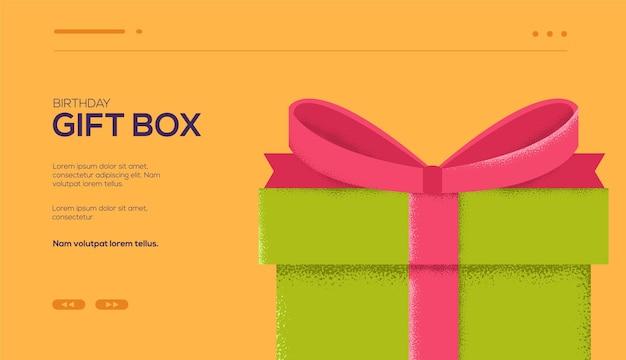 Folleto de concepto de regalo, banner web, encabezado de interfaz de usuario, ingresar al sitio. textura de grano y efecto de ruido.