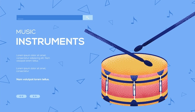 Folleto de concepto de tambor pequeño, banner web, encabezado de interfaz de usuario, ingresar al sitio. .