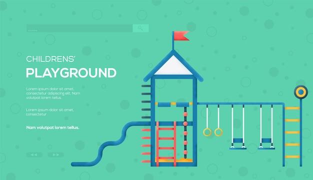 Folleto de concepto de teeter, banner web, encabezado de interfaz de usuario, ingresar al sitio.