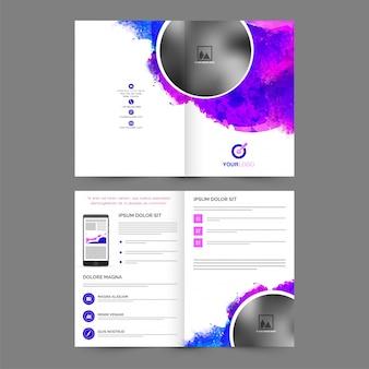 Folleto corporativo, diseño de la plantilla del asunto con el chapoteo colorido abstracto y espacio para sus imágenes.