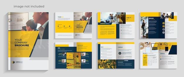 Folleto corporativo limpio con acentos amarillos y oscuros diseño de 12 páginas