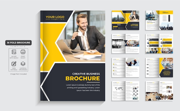 Folleto corporativo perfil de la empresa de 16 páginas y diseño de folleto comercial de varias páginas vector premium