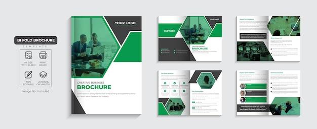 Folleto corporativo perfil de la empresa de 8 páginas y diseño de folleto comercial de varias páginas vector premium