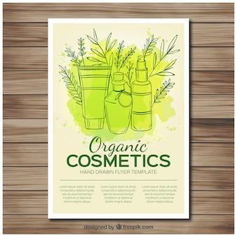 Folleto de cosméticos naturales con mancha de acuarela