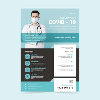 Folleto creativo de covid-19 con información útil