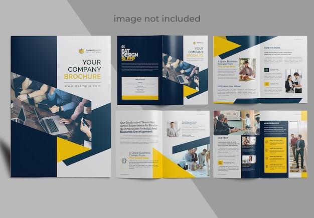 Folleto creativo oscuro y amarillo para el vector premium de su empresa