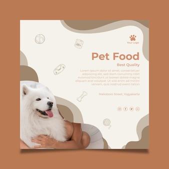 Folleto cuadrado de alimentos para animales