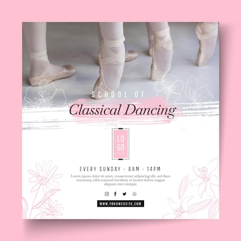 Folleto cuadrado de baile clásico