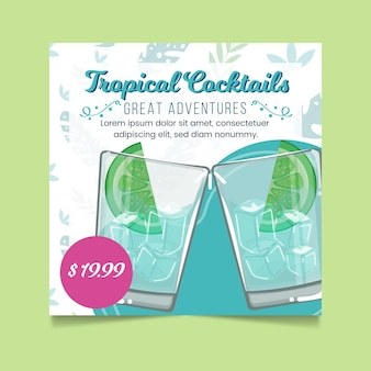 Folleto cuadrado de cócteles tropicales
