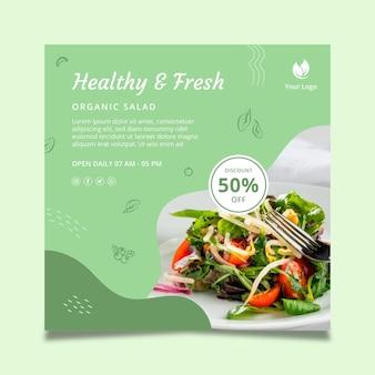 Folleto cuadrado de comida bio y saludable vector gratuito