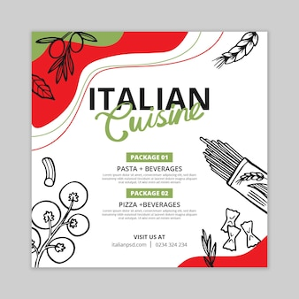Folleto cuadrado de comida italiana