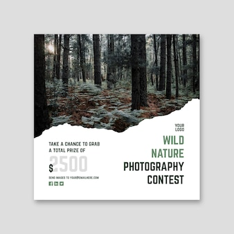 Folleto cuadrado del concurso de fotografía de naturaleza salvaje
