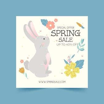 Folleto cuadrado dibujado a mano de venta de primavera