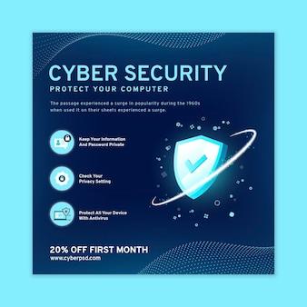 Folleto cuadrado de seguridad cibernética