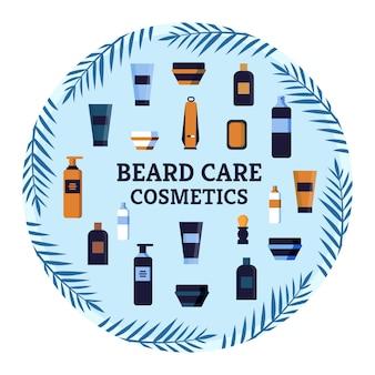 Folleto cuidado de la barba cosméticos publicidad para comprar.