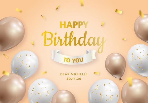 Folleto de cumpleaños con globos y confeti dorado.