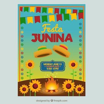 Folleto de festa junina con hoguera y girasoles