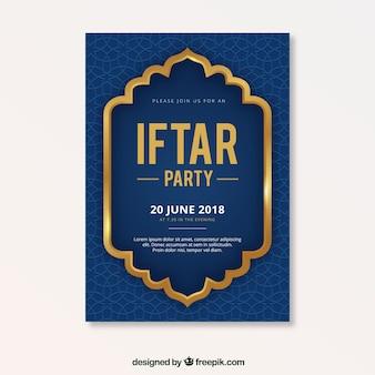Folleto de fiesta de iftar con patrón