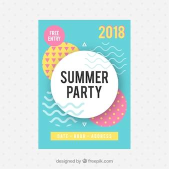 Folleto de fiesta de verano con estilo memphis