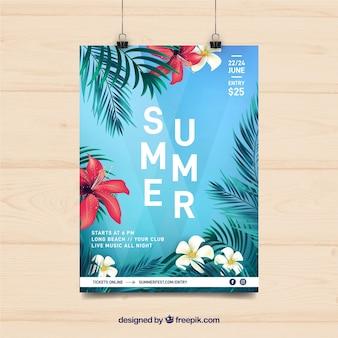 Folleto de fiesta de verano con plantas tropicales