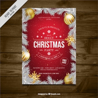 Folleto de fiesta navideña con hojas de abeto y bolas doradas