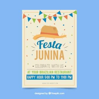 Folleto de invitación de fiesta junina con sombrero tradicional