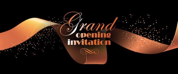 Folleto de invitación de gran inauguración con cinta dorada