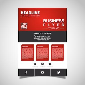 Folleto de negocios rojo y negro