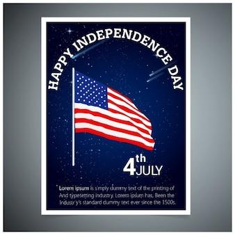 Folleto del día de independencia con bandera