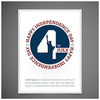 Folleto del día de independencia con estatua de la libertad