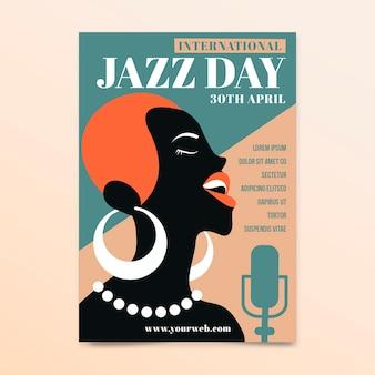 Folleto del día internacional del jazz de diseño vintage