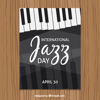 Folleto del día internacional de jazz con teclas de piano
