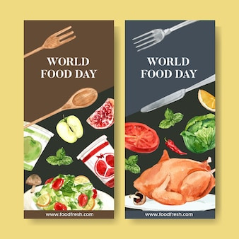 Folleto del día mundial de la comida con pollo, menta, ensalada, ilustración acuarela de manzana.